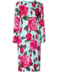 Dolce & Gabbana Rose-stampa tubino - Rosa