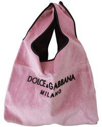 Dolce & Gabbana Velvet Logo Market Shopping Hand Bag Tote Bag - Roze
