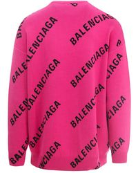 Balenciaga Logo jacquard sweater Rosa