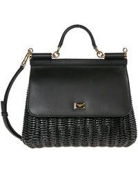 Dolce & Gabbana Women's Leather Handbag Shopping Bag Purse Sicily - Zwart