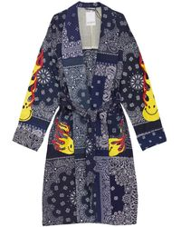 READYMADE Bandana Belted Morning Gown - Blauw