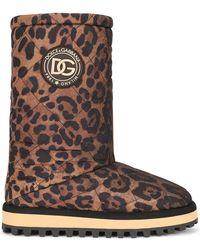 Dolce & Gabbana Leopard-print nylon city boots - Marron