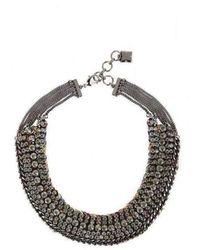 BCBGMAXAZRIA Stone and Thread Collar Necklace - Gris