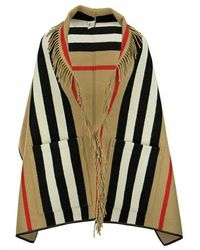 Burberry Jacquard Cape With Iconic Striped Pattern - Naturel