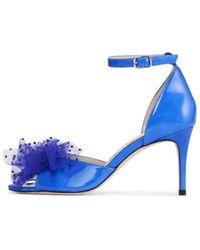 Custommade• Sandalo con fiocco in tessuto puntinato - Blu