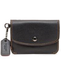 COACH Card Pouch With Button - Zwart