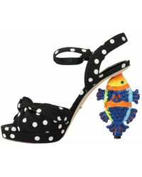 Dolce & Gabbana Ankle Strap Sandals Fish Heels Negro