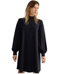 Thinking Mu Black Puff Sleeve Dress - Flora - Zwart