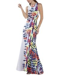 BCBGMAXAZRIA Zhanna Printed Open Back Gown - Wit