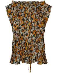 summum woman Flowerprint Top Ochre - Oranje