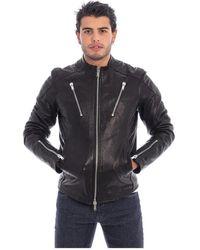 Dondup Biker Leather Jacket - Nero