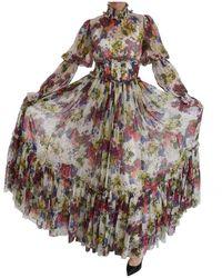 Dolce & Gabbana Bloemen Zijden Lange Jurk - Grijs