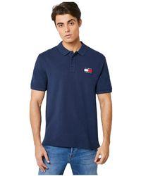 Tommy Hilfiger Dm0dm07456 Badge Polo Polo Men Black Iris - Blauw