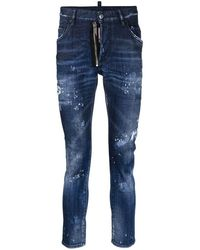 DSquared² - Distressed-finish Slim-fit Logo Patch Jeans - Lyst