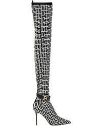 Balmain Raven over-the-knee boots - Gris