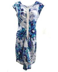 BCBGMAXAZRIA Marisol Blue Combo Silk Zip Front Dress - Blauw