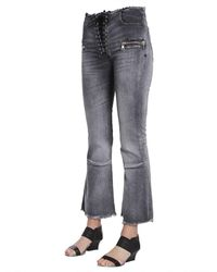 Unravel Project Laceup Flare Cropped Jeans Gris
