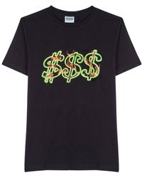 SSS World Corp Fire Dollar T-shirt - Zwart