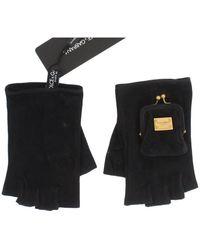 Dolce & Gabbana Leather Finger Less Wrist Logo Gloves - Zwart