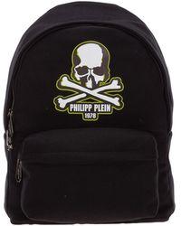 Philipp Plein Men's Nylon Rucksack Backpack Travel Skull - Zwart