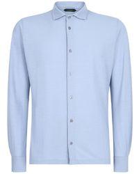 Zanone Straight Fit Shirt - Blauw