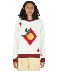 CASABLANCA Orange Card Intarsia Sweater - Wit