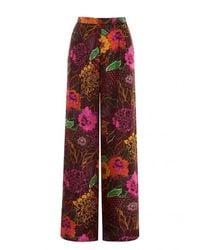 Sfizio Pantalón de Seda con Estampado Floral - Marron