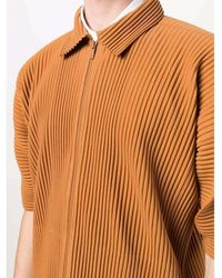 Issey Miyake Pleated polo shirt Naranja