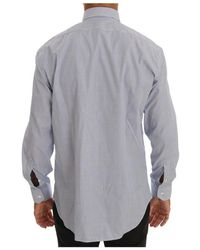 Roberto Cavalli Striped Slim Fit Shirt Azul