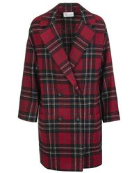 RED Valentino Double-breasted Tartan Coat - Rood