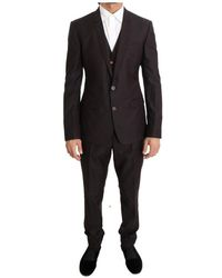 Dolce & Gabbana Wol Zijde Slim Fit Twee Knop Pak - Zwart