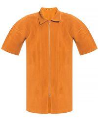 Issey Miyake Pleated shirt - Arancione