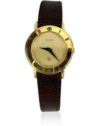 Gucci Roestvrij Staal 3001 Horloge Lederen Band - Geel