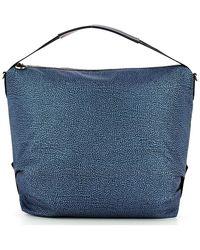 Borbonese Shoulder Hobo Bag Large - Blauw