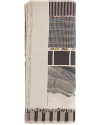 Pierre Louis Mascia Wash Printed Scarf With Fringes - Natur