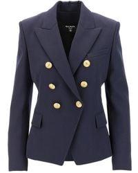 Balmain Wool Blazer - Blauw