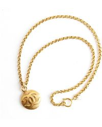 Chanel Vintage Long Link Necklace With Cc Medaillon - Geel