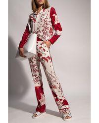 RED Valentino Pantalones de seda Rojo