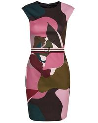 Ted Baker Ginina Aansluitend Kleed Kaki Roze Camouflage Print