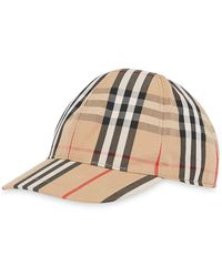 Burberry Baseball Cap With Stripes And Vintage Check - Naturel