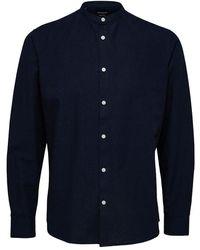 SELECTED Reglinen Shirt Met Lange Mouwen - Blauw