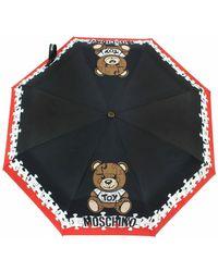 Moschino Ombrello automatico stampa 'Puzzle Bear' O20Mo31 - Noir