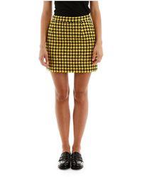 Alessandra Rich Houndstooth Mini Skirt - Geel
