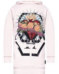 Philipp Plein Hooded sweatshirt dress - Rose