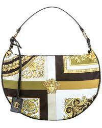 Versace Hobo-Tasche mit Print-Mix - Nero