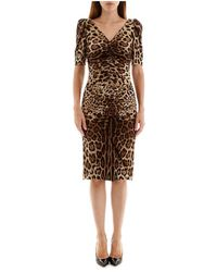 Dolce & Gabbana Leopard Print Midi Dress - Bruin