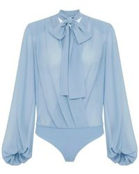 Elisabetta Franchi Body Shirt With Crossover And Bow - Blauw