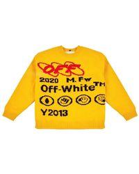 Off-White c/o Virgil Abloh Bonded Knit Crew Sweatshirt - Jaune
