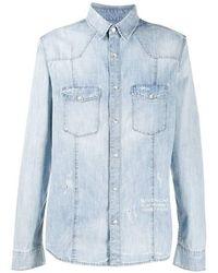 Blauer Overhemd Met Vervrouwd Detail Vervallen Effect - Blauw