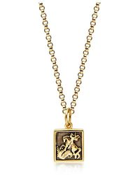 Nialaya Men's Gold Necklace With Saint George And The Dragon Pendant - Geel